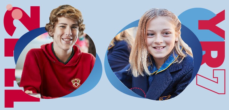Blue background. Left - Male high school student with text '11-12' to his left. Right - Female high school student with text 'YR7' to her right.